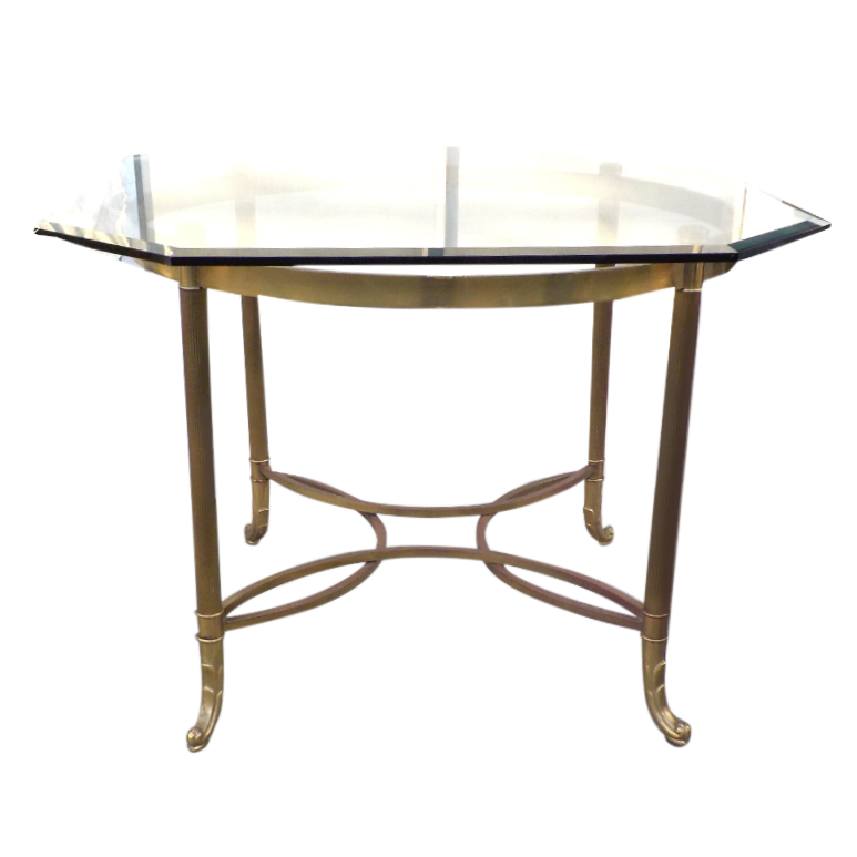 Vintage Brass U0026 Glass Dining/Occasional Table