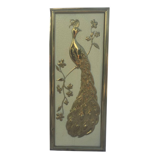 Vintage Gold Peacock Wall Hanging- Right Facing - Image 1 of 5