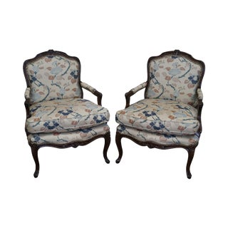 French Louis XV Style Carved Frame Fauteuil Arm Chairs - A Pair