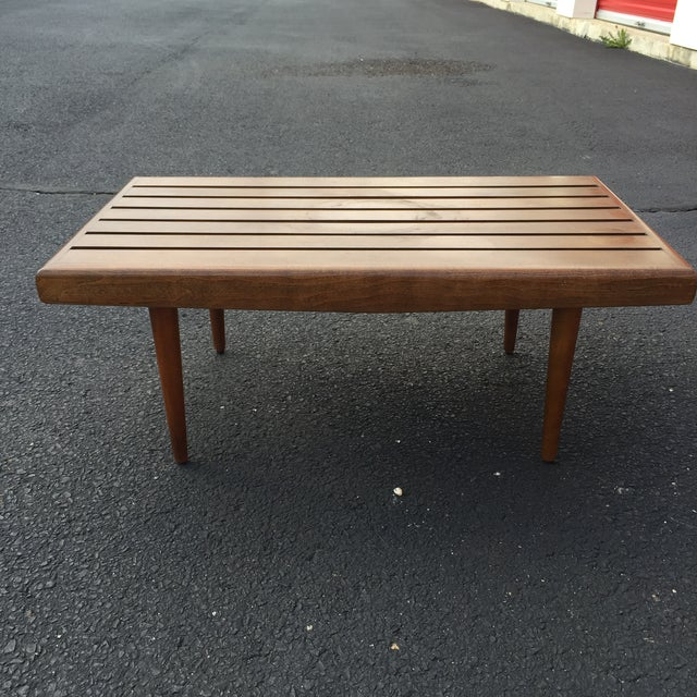 Mid-century Walnut Slat Rectangular End Table - Image 3 of 7