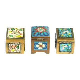 Chinese Floral Cloisonne Stamp Boxes - Set of 3