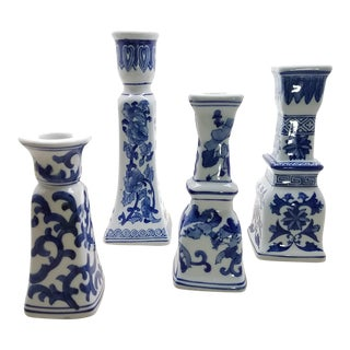 Chinoiserie Blue & White Candle Holders, 4 Piece