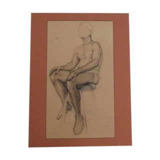 Vintage Pencil Drawing of Nude Male