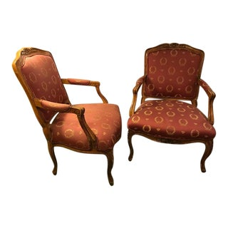 Open Arm Louis XV Style Feuteuil Chairs - a Pair