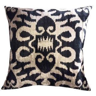 Custom Down Feather Silk Velvet Ikat Pillow