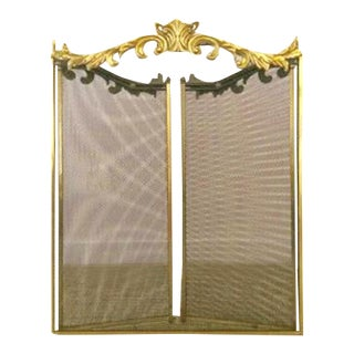 Hollywood Regency Ornate Brass Fireplace Screen