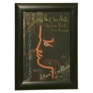 Vintage Original Jean Cocteau Stone Lithograph Exhibition Poster Custom Framed