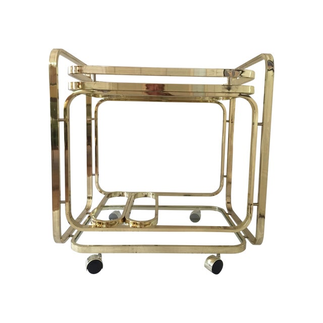 Image of Milo Baughman Brass Bar Cart