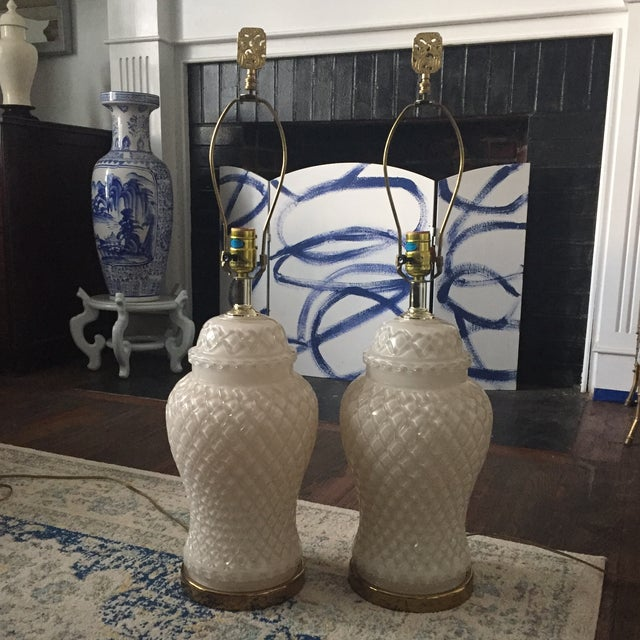 White Glass Quilted Ginger Jar Lamps - A Pair - Image 2 of 11