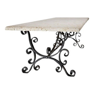 Wrought Iron Table with Coral Top