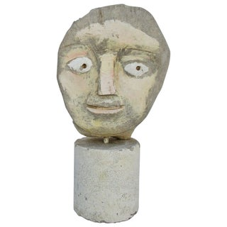 Primitive Stone Bust on Stone Base by Edgar Ewing