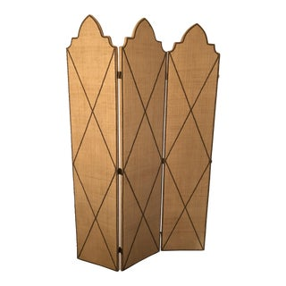 Tan Grasscloth Four Panel Screen