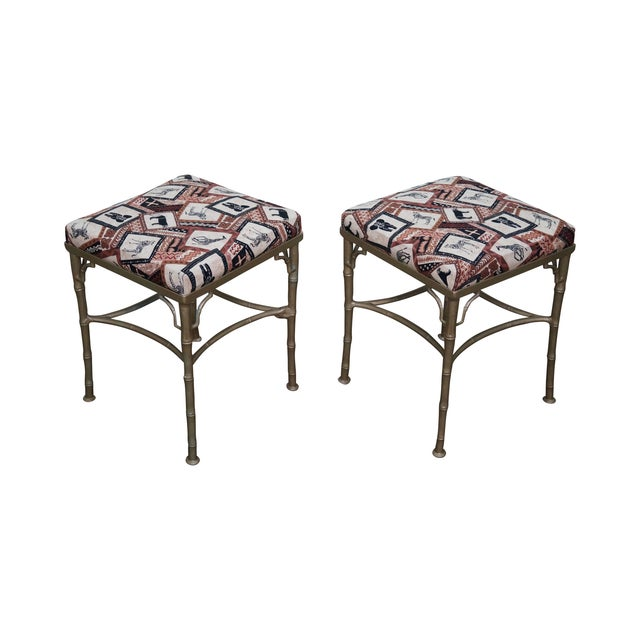 Vintage Faux Bamboo Metal Ottomans - A Pair - Image 1 of 10