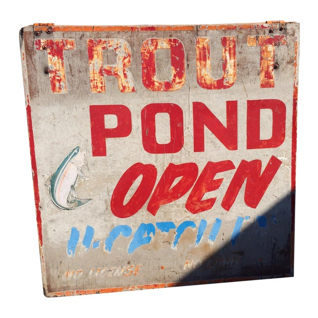 Vintage Double-Sided Trout Sign - Image 1 of 3