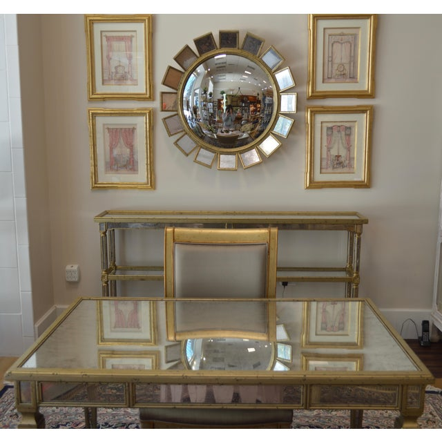 Silver Leaf & Mirrored Sunburst Wall Mirror - Image 5 of 5