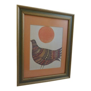 Mid Century Abstract Pigeon Print by Marie Bernard