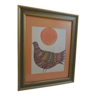 Mid Century Abstract Pigeon Print by Marie Bernard