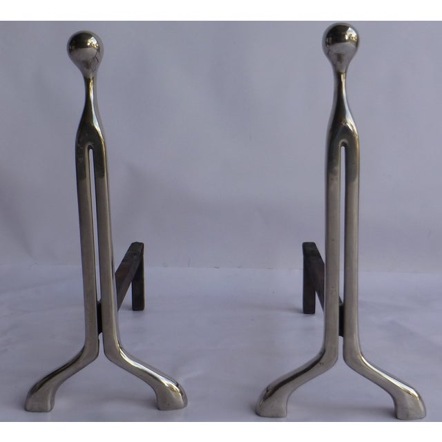 Image of Mid-Century Calibre Fireplace Andirons - A Pair