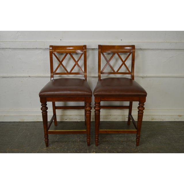 Ethan Allen Regency Style Counter Bar Stools - A Pair - Image 2 of 11