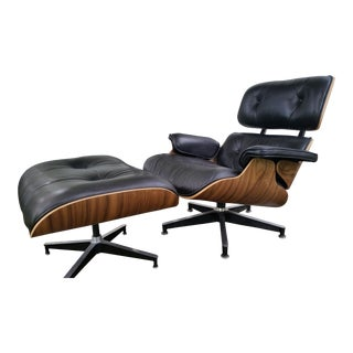 Mid-Century Eames Lounge Chair and Ottoman Set
