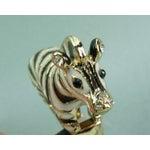 Image of 70s Enamel Jeweled Zebra Cocktail Ring Ciner Style
