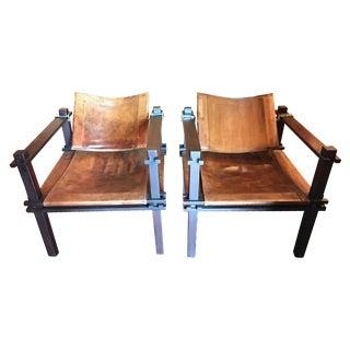 Gerd Lange German Safari Mahogany Chairs - Pair