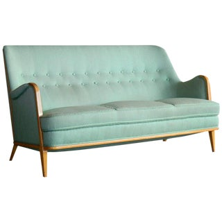 Axel Larsson Walnut and Velvet Sofa Sweden, 1940s