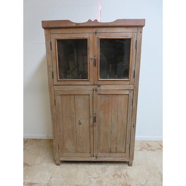 Image of Antique Primitive Hutch China Cabinet Cupboard