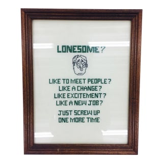 "Vintage Handmade ""Lonesome"" Needlepoint Art"