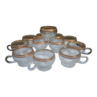 Gold Trimmed Coffee Cups - Set of 12
