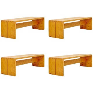 Set of Four Charlotte Perriand Benches for Les Arcs