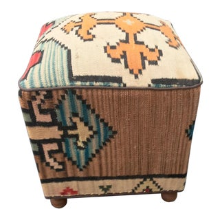 Persian Kilim Fabric Foot Stool/Ottoman