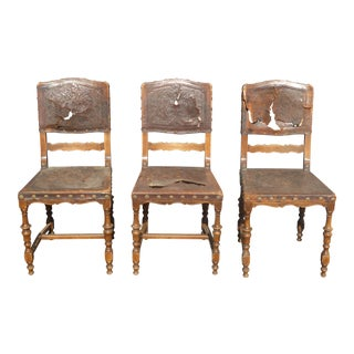 Spanish Revival Embossed Leather Chairs - Set of 3