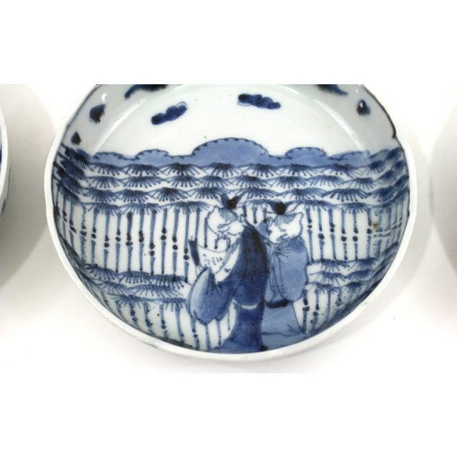 1900s Japanese Blue & White Bowls Meiji Period - Image 2 of 5