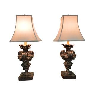 Antique Italian Gilt Wood Lamps - A Pair