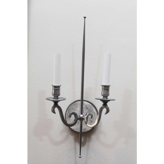 Pewter and Rock Crystal Sconces - Image 2 of 9