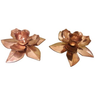 Vintage Brass Flower Candleholders - A Pair