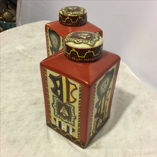 Image of Porcelain Canisters - Pair