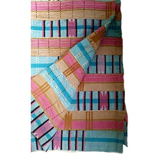 Pink & Blue Vintage African Asoke Fabric