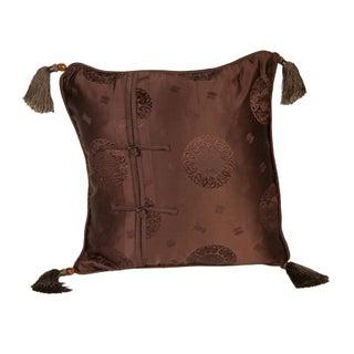 Silk Brown Medallion 16x16 Pillow