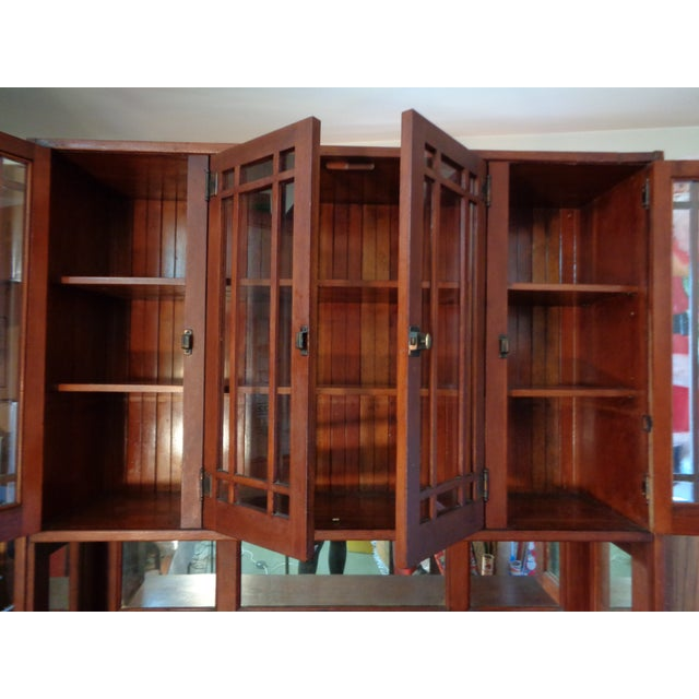 Antique Mission Hutch China Cabinet - Image 7 of 11