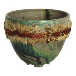 Raku Studio Ceramic Pot With Pheasant Feathers