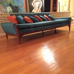 Image of Reupholstered Danish Modern Wing Arm Sofa