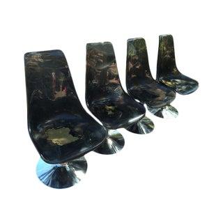 Mid-Century Modern Chrome Acrylic Tulip Dining Chairs - Set of 4