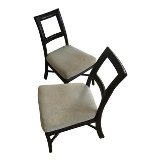 McGuire Thomas Pheasant Rattan Square Back Side Chairs - A Pair