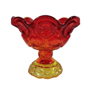 L.E. Smith Amberina Moon & Stars Glass Candy Dish