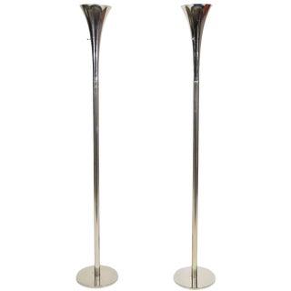 Laurel Chrome Torchiere Floor Lamps - A Pair
