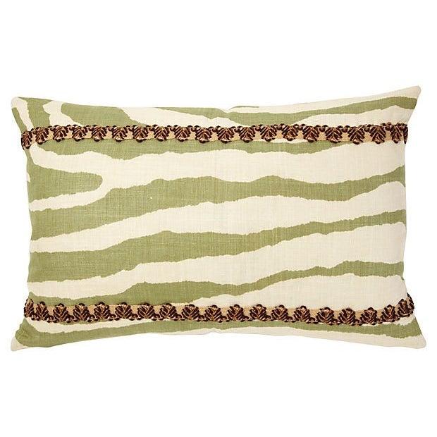 Green Zebra Print Travers Pillow - Image 1 of 2