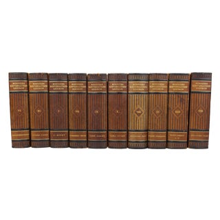 Art Deco Leather Bound Books - Set of 10