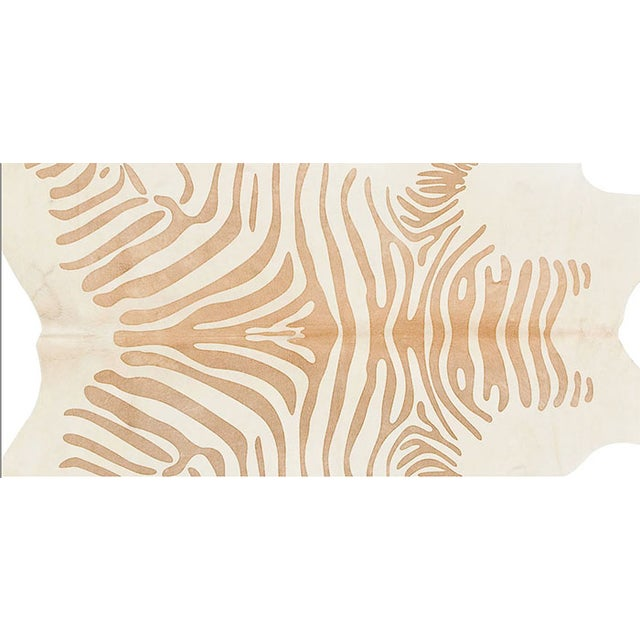 Honey Color Zebra Print Cow Hide Rug - 7' X 8' - Image 2 of 6